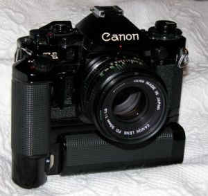 My Canon A-1 with motor drive (5 frames / sec)
